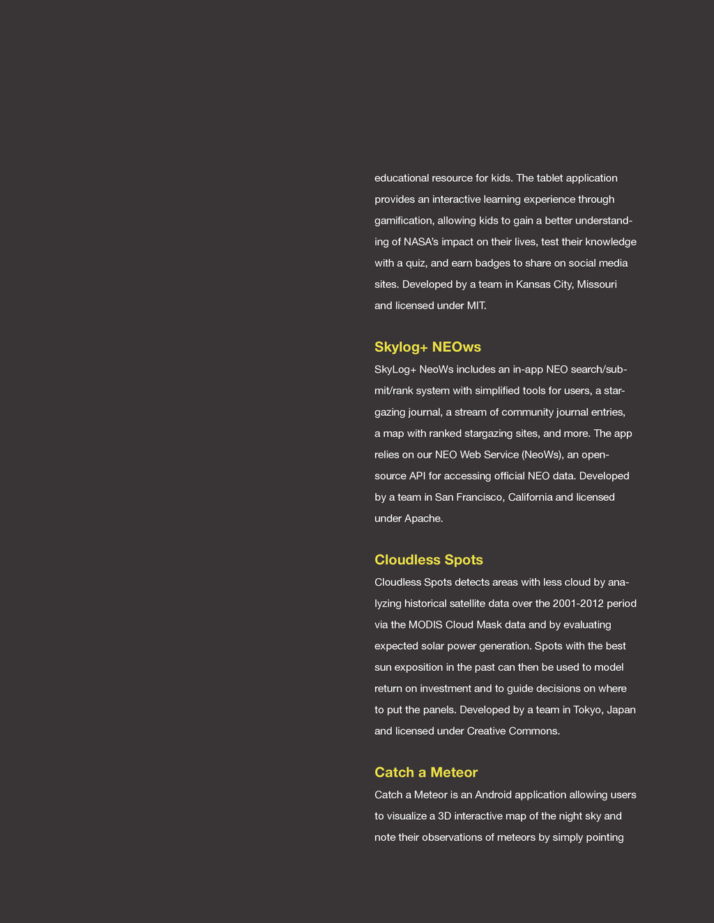 spaceappschallenge.org educational resource for...
