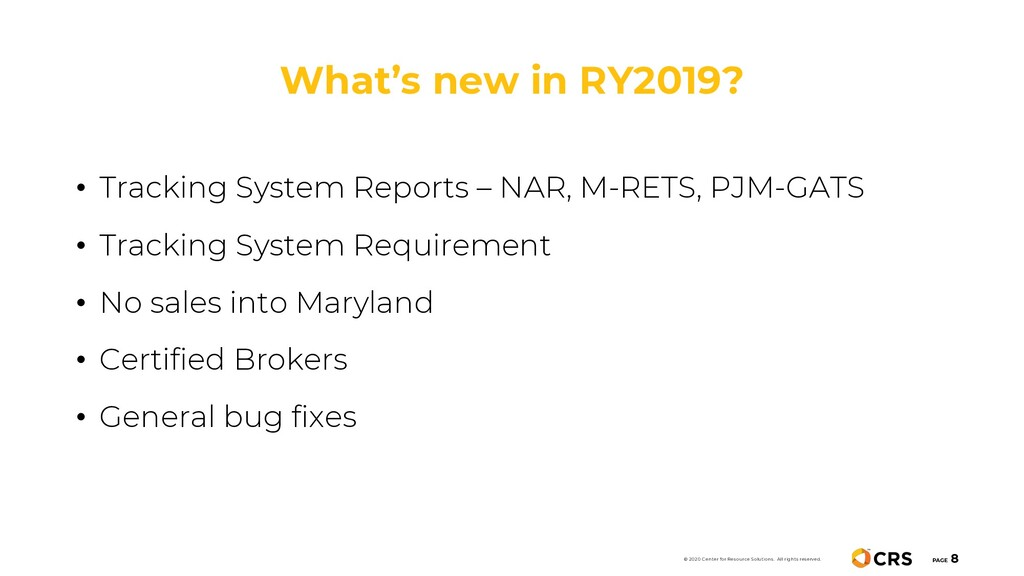 What's new in RY2019? PAGE 8 © 2020 Center for ...