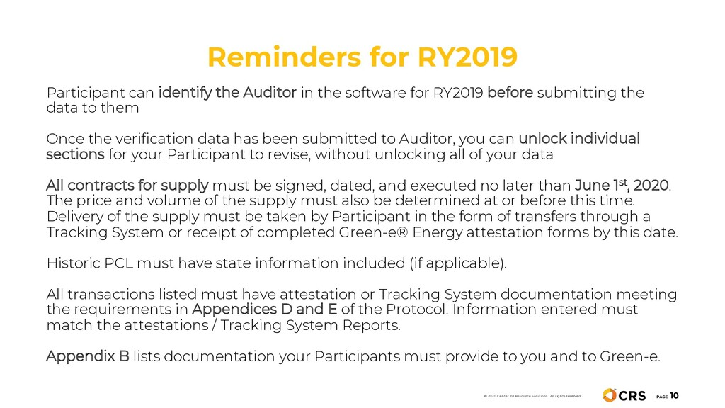 Reminders for RY2019 PAGE 10 © 2020 Center for ...