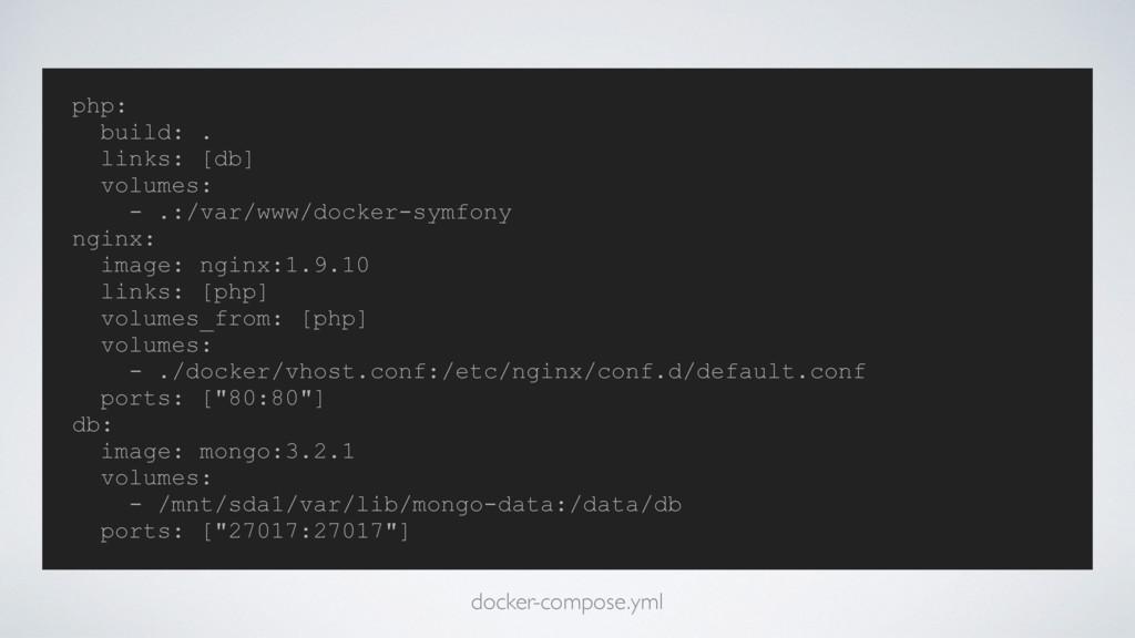 php: build: . links: [db] volumes: - .:/var/www...