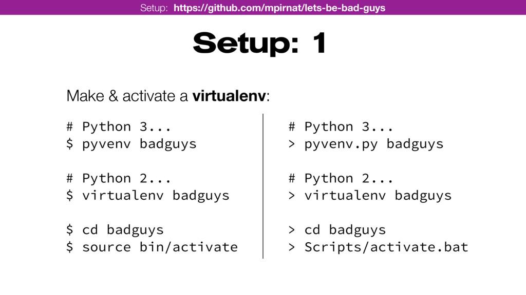 Setup: 1 Make & activate a virtualenv: Setup: h...