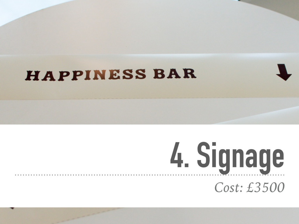 4. Signage Cost: £3500