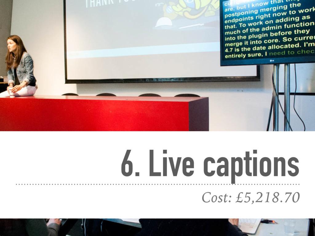 6. Live captions Cost: £5,218.70