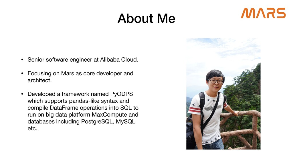 About Me • Senior software engineer at Alibaba ...