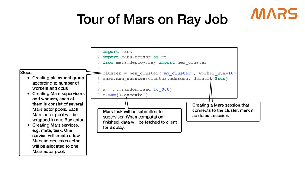Tour of Mars on Ray Job 1 import mars 2 import ...