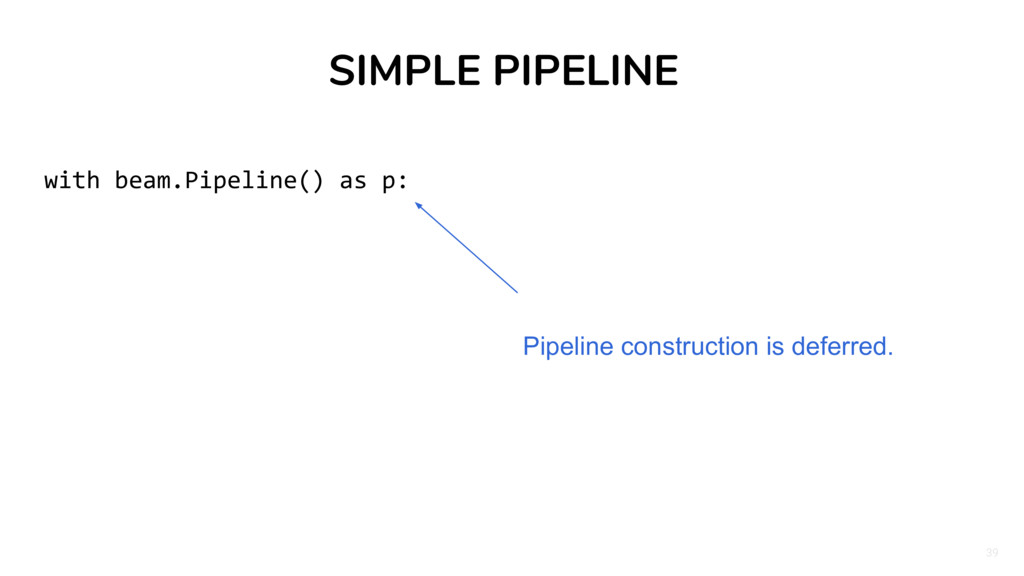 39 SIMPLE PIPELINE with beam.Pipeline() as p: P...