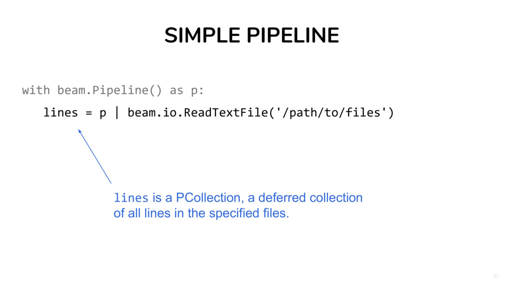 40 SIMPLE PIPELINE with beam.Pipeline() as p: l...
