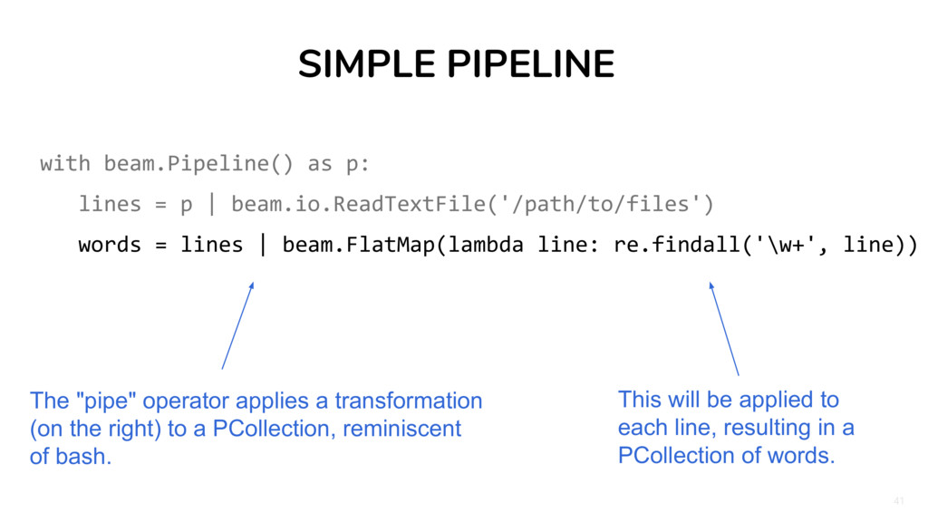 41 SIMPLE PIPELINE with beam.Pipeline() as p: l...