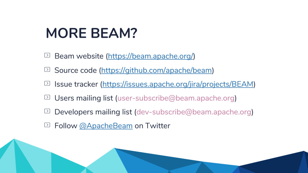 MORE BEAM? Issue tracker (https://issues.apache...