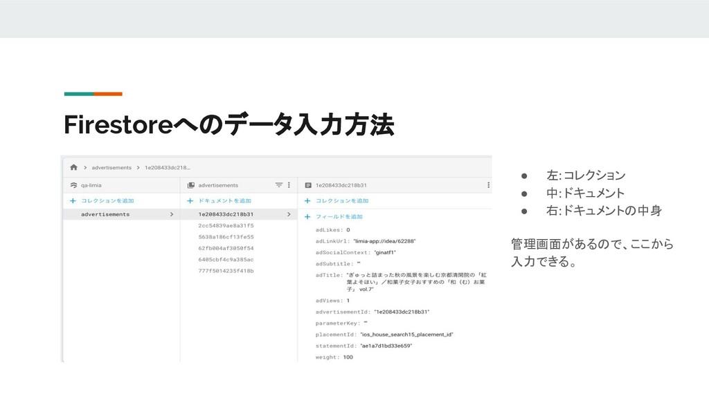 Firestoreへのデータ入力方法 ● 左: コレクション ● 中: ドキュメント ● 右:...