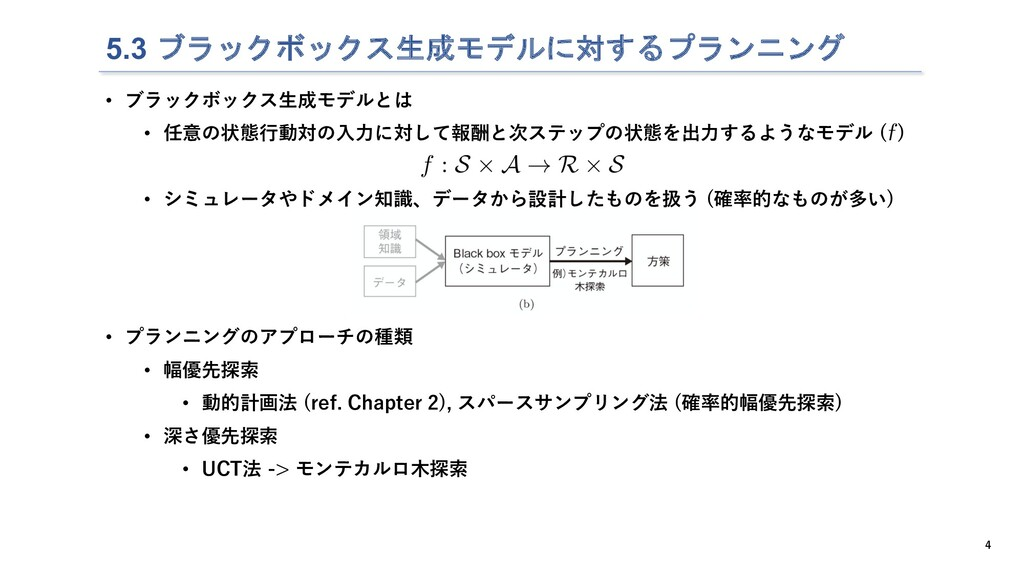 5.3 ブラックボックス生成モデルに対するプランニング 4 • ブラックボックス⽣成モデルとは...