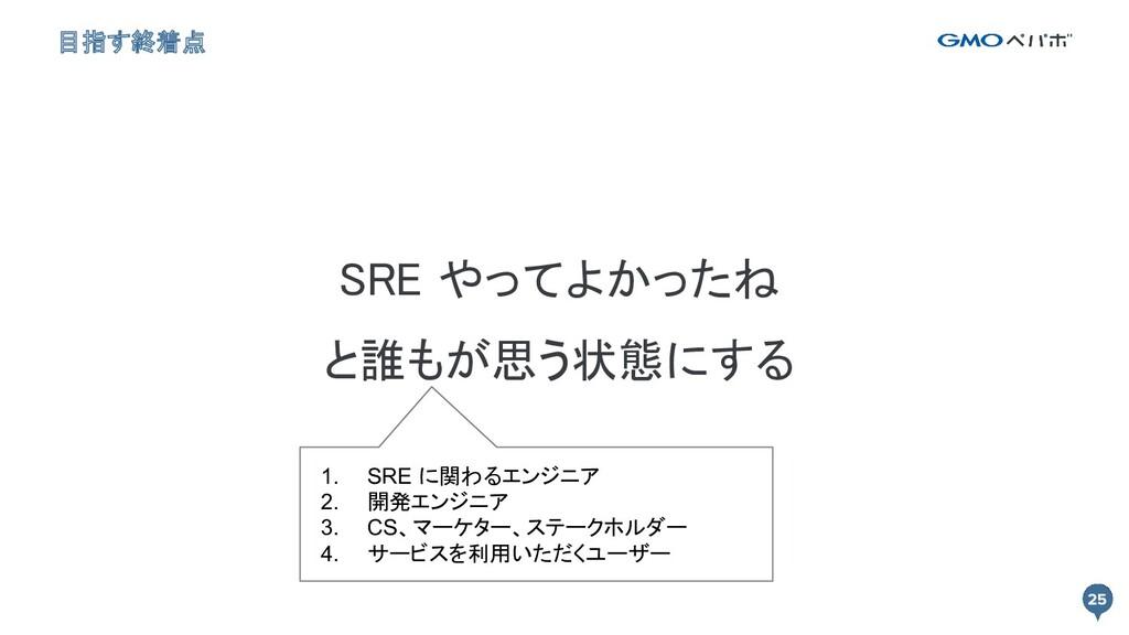 目指す終着点 SRE やってよかったね と誰もが思う状態にする  1. SRE に関わる...