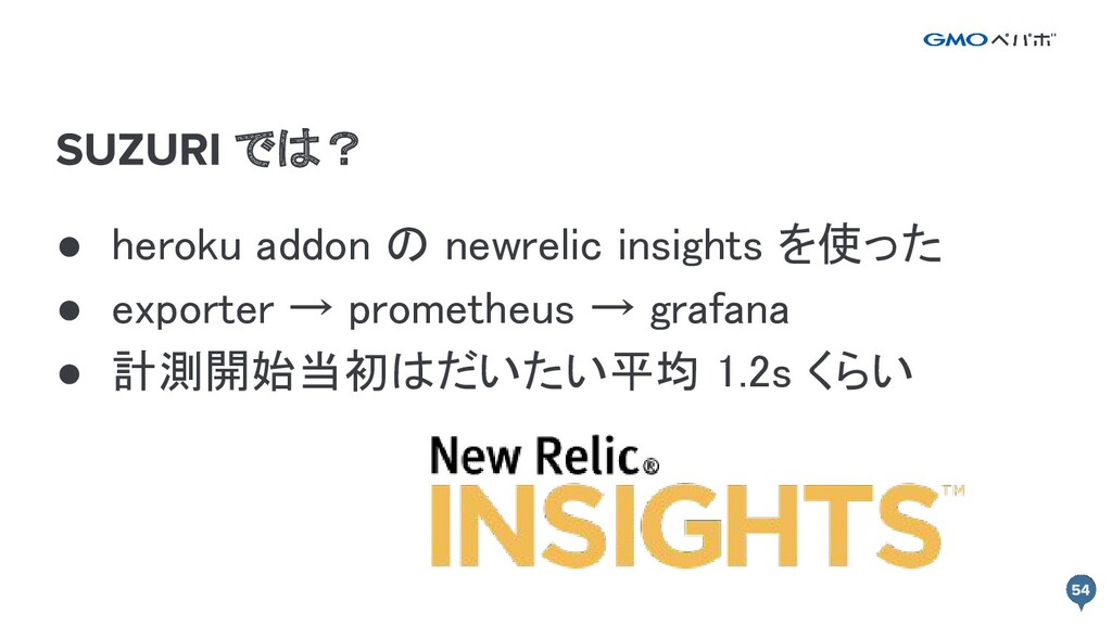 では? ● heroku addon の newrelic insights を使った ● ...