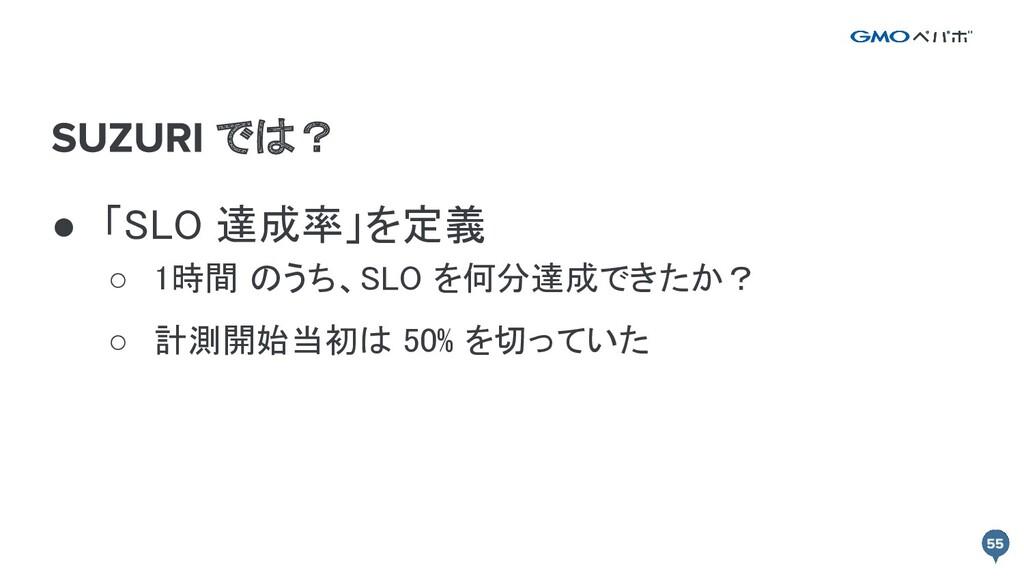 では? ● 「SLO 達成率」を定義 ○ 1時間 のうち、SLO を何分達成できたか? ○...