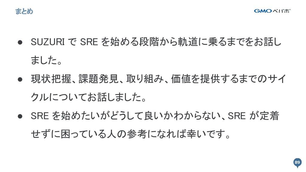 まとめ ● SUZURI で SRE を始める段階から軌道に乗るまでをお話し ました。 ● ...