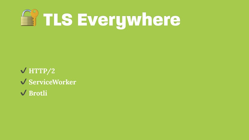 TLS Everywhere ✔ HTTP/2 ✔ ServiceWorker ✔ Brot...