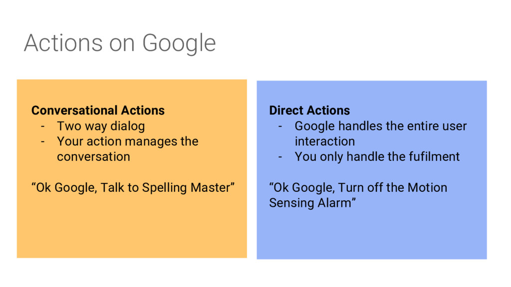 Actions on Google Conversational Actions - Two ...