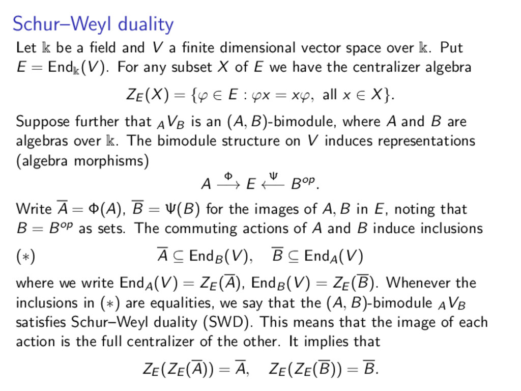 Schur–Weyl duality Let k be a field and V a finit...