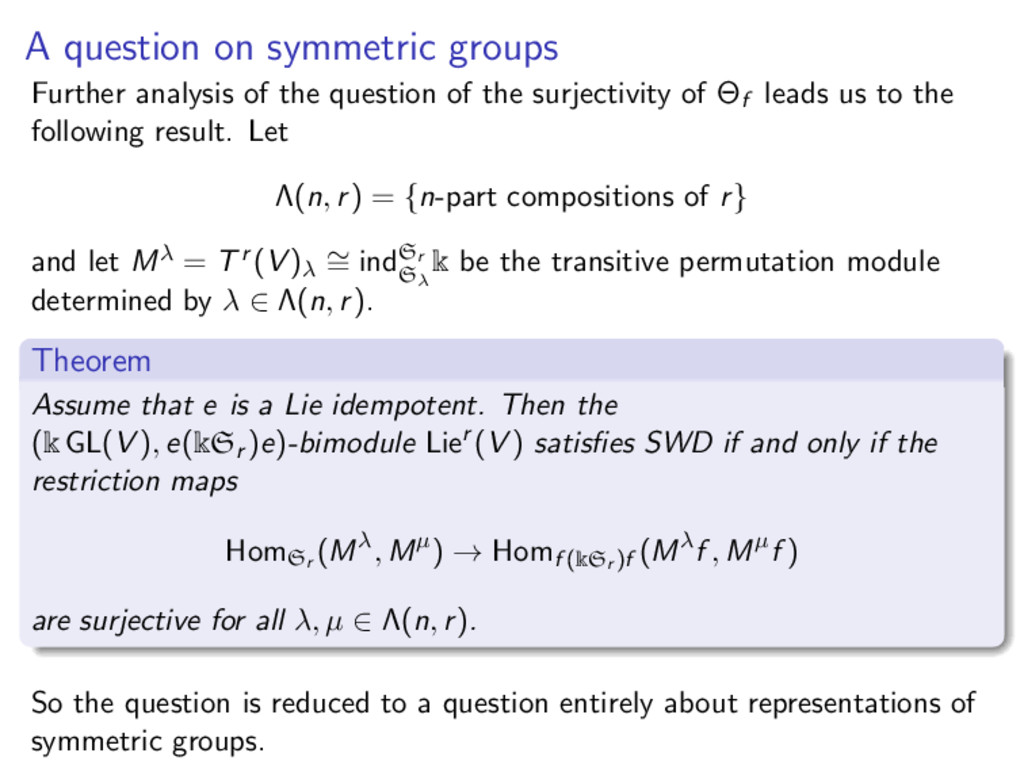 A question on symmetric groups Further analysis...