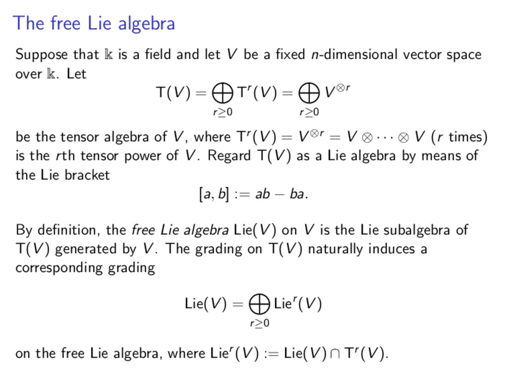 The free Lie algebra Suppose that k is a field a...