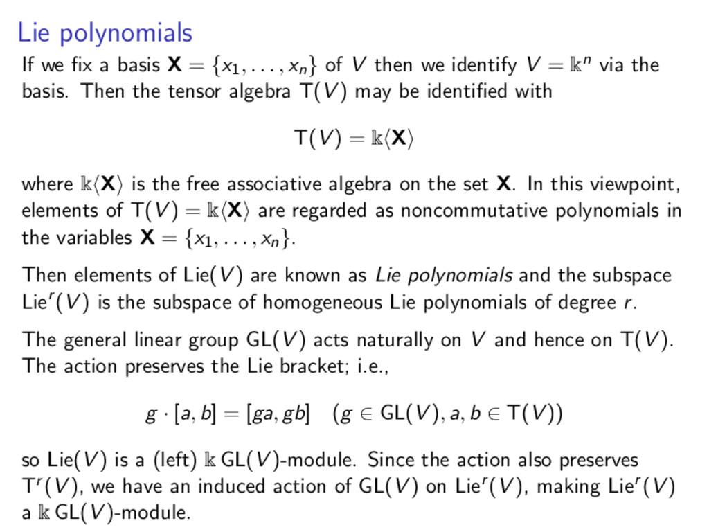Lie polynomials If we fix a basis X = {x1, . . ....