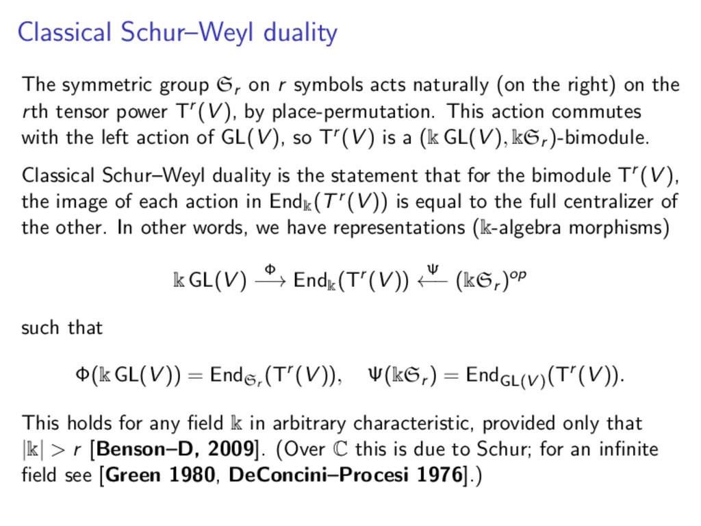 Classical Schur–Weyl duality The symmetric grou...