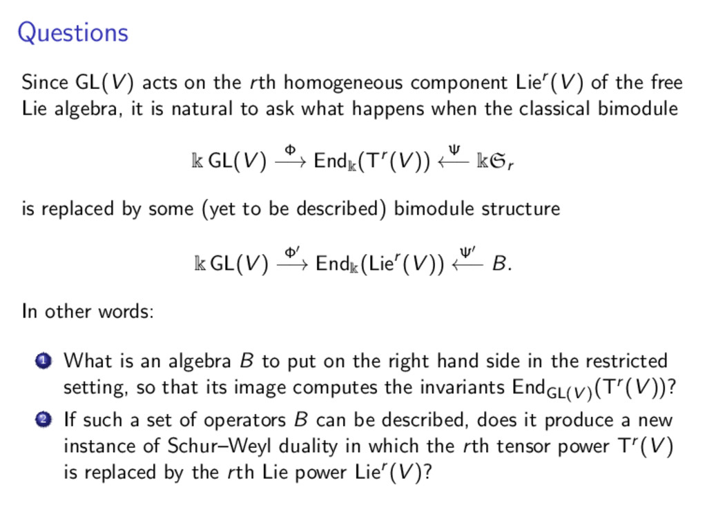Questions Since GL(V ) acts on the rth homogene...