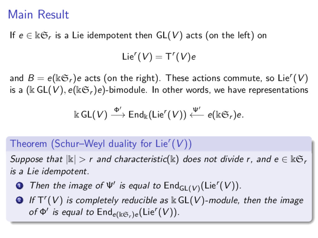 Main Result If e ∈ kSr is a Lie idempotent then...