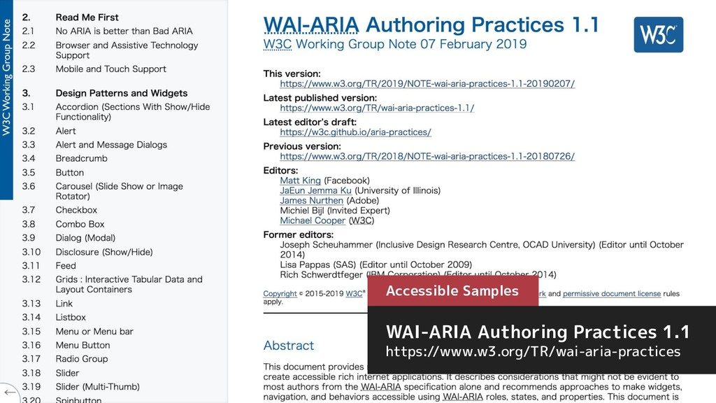 Accessible Samples WAI-ARIA Authoring Practices...