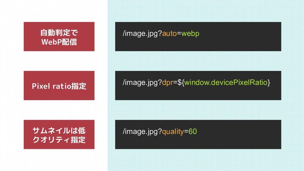 サムネイルは低 クオリティ指定 自動判定で WebP配信 Pixel ratio指定 /ima...