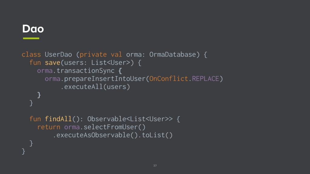 37 Dao class UserDao (private val orma: OrmaDat...