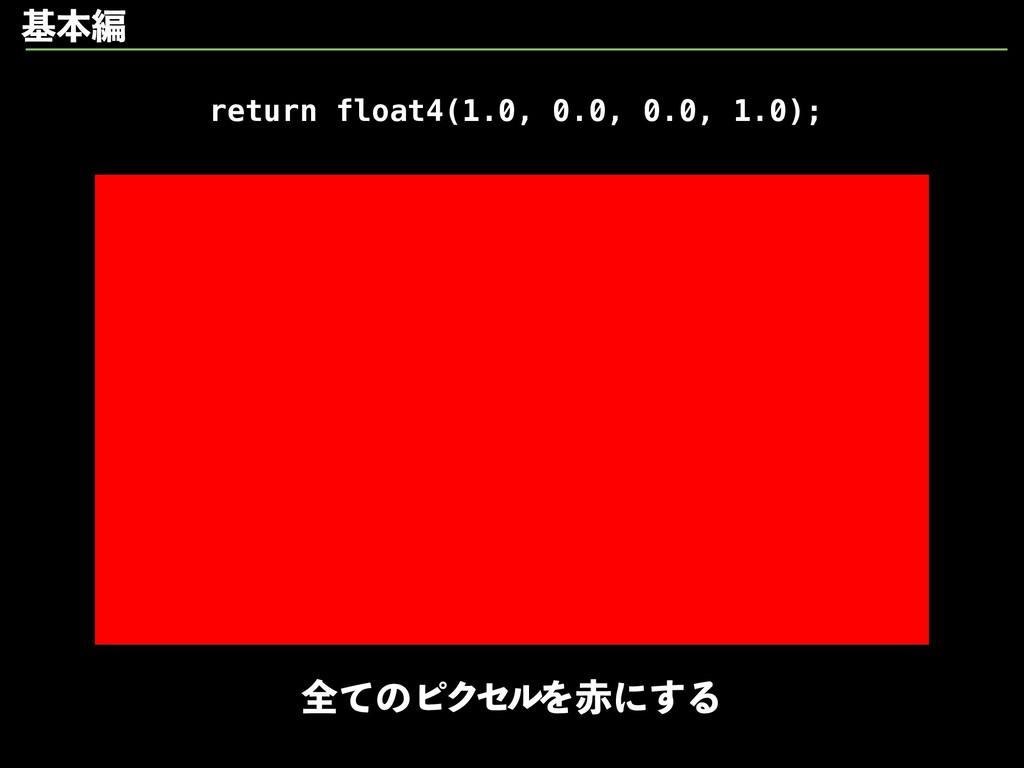 return float4(1.0, 0.0, 0.0, 1.0); શͯͷϐΫηϧΛʹ͢Δ...