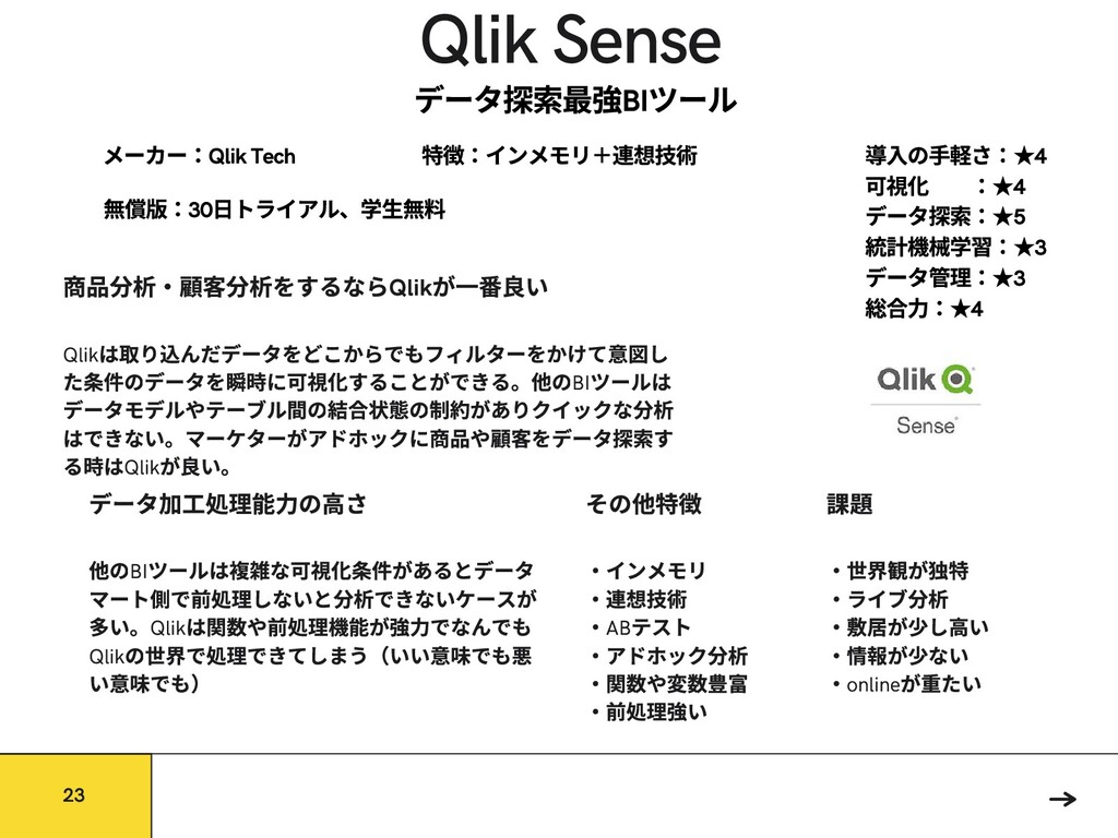Qlik Sense 他のBI ツールは な可 件があるとデータ マート側で前処理しないと で...