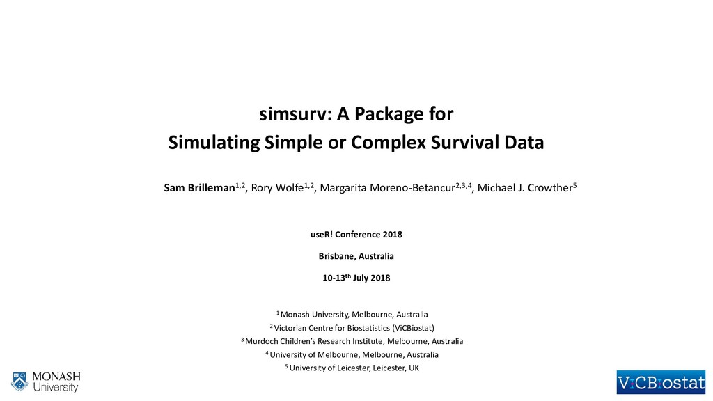 simsurv: A Package for Simulating Simple or Com...