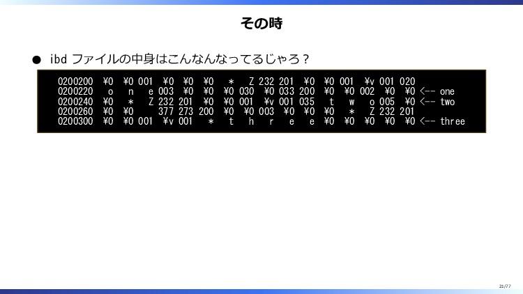 その時 ibd ファイルの中身はこんなんなってるじゃろ? 0200200 \0 \0 001 ...