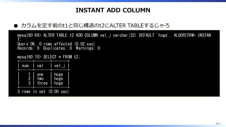 INSTANT ADD COLUMN カラムを足す前のt1と同じ構造のt2にALTER TAB...