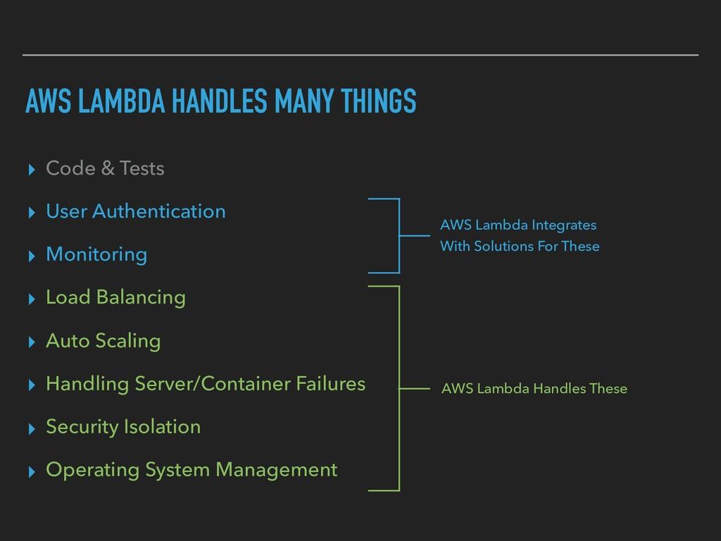 AWS LAMBDA HANDLES MANY THINGS ▸ Code & Tests ▸...