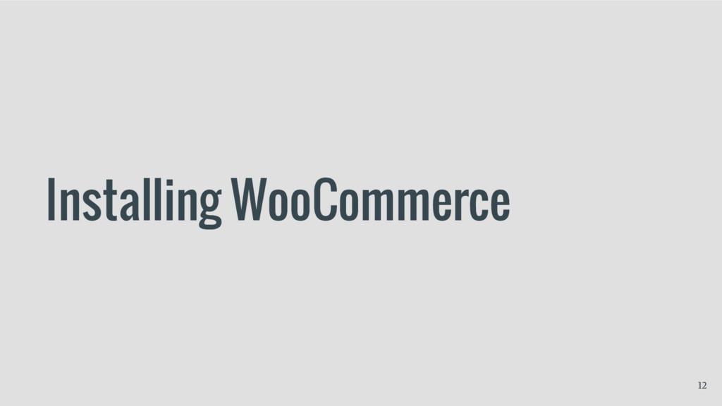 Installing WooCommerce 12