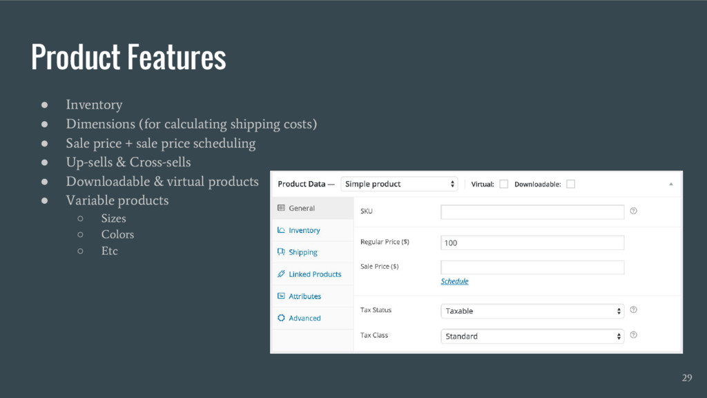 Product Features ● Inventory ● Dimensions (for ...