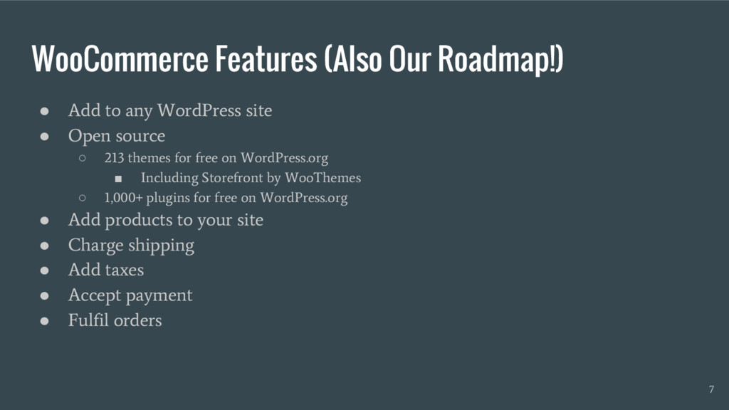 WooCommerce Features (Also Our Roadmap!) ● Add ...