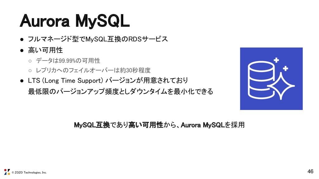 © ZOZO Technologies, Inc. Aurora MySQL ● フルマネー...