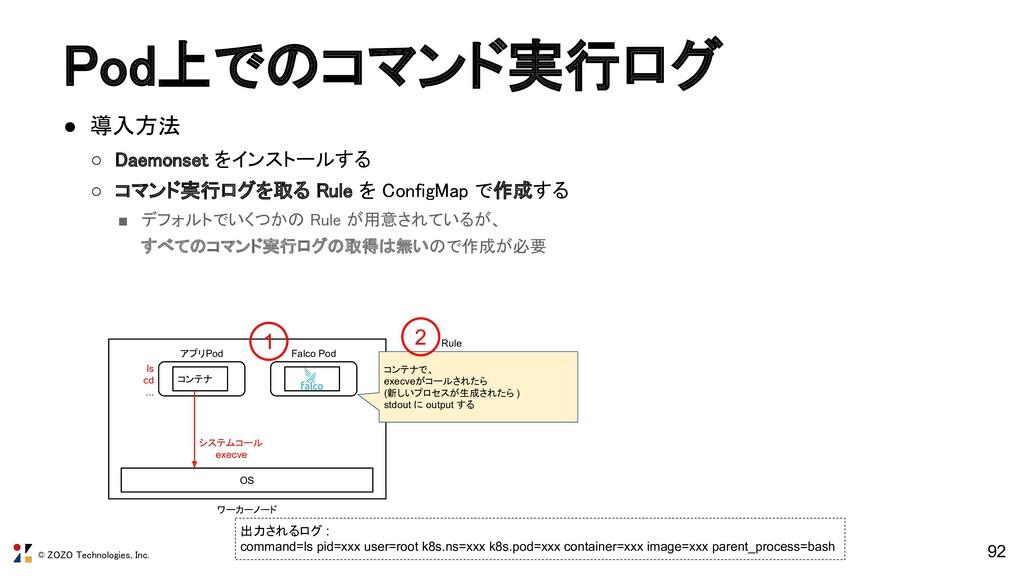 © ZOZO Technologies, Inc. Pod上でのコマンド実行ログ ● 導入方...
