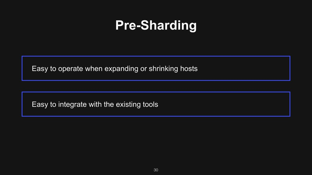 Pre-Sharding Easy to operate when expanding or ...