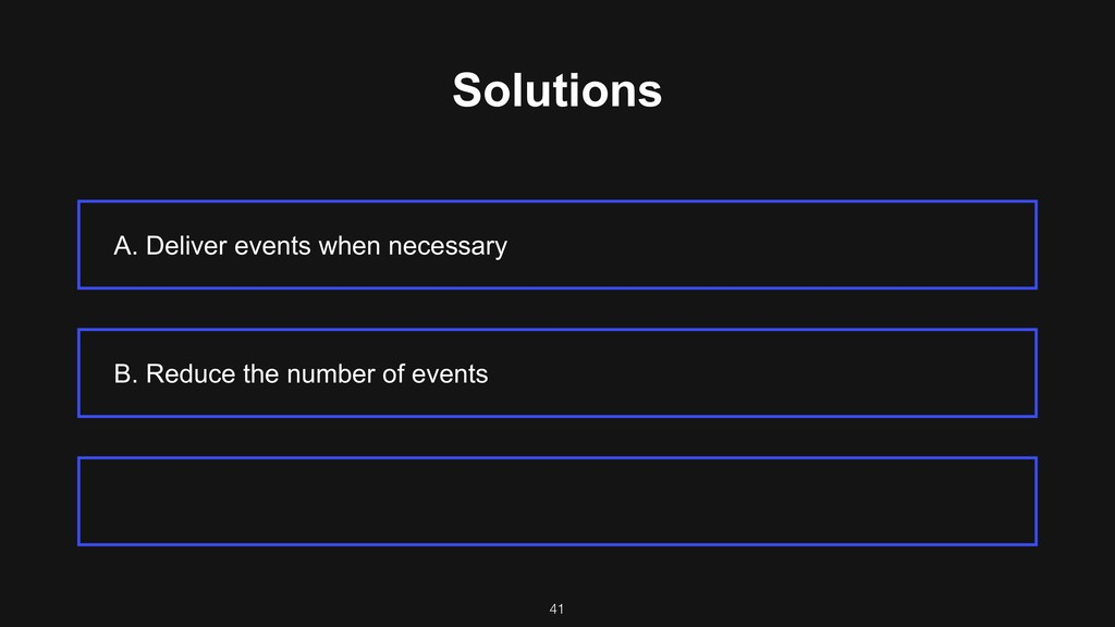 Solutions A. Deliver events when necessary B. R...