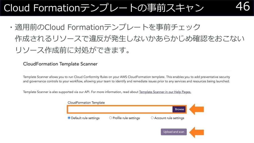46 Cloud Formationテンプレートの事前スキャン ・適⽤前のCloud Form...