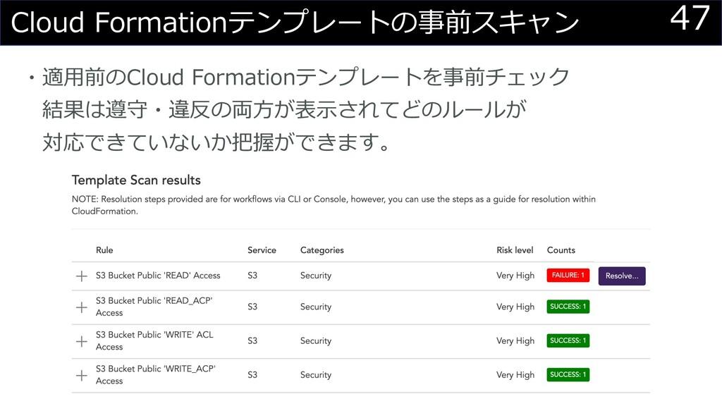 47 Cloud Formationテンプレートの事前スキャン ・適⽤前のCloud Form...