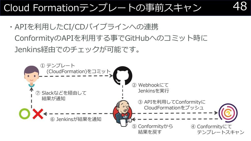 48 Cloud Formationテンプレートの事前スキャン ・APIを利⽤したCI/CDパ...