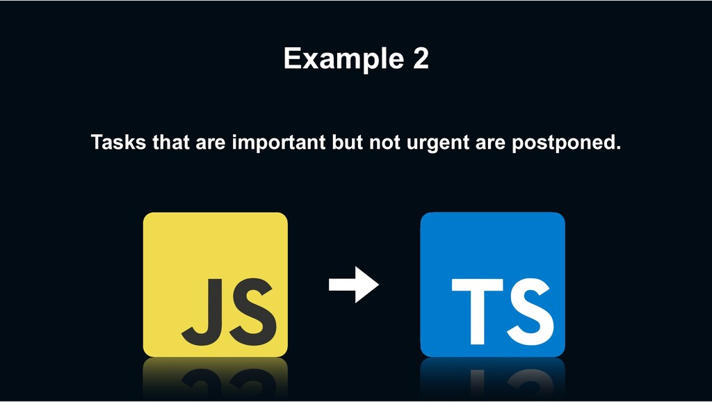 Example 2 Tasks that are important but not urge...