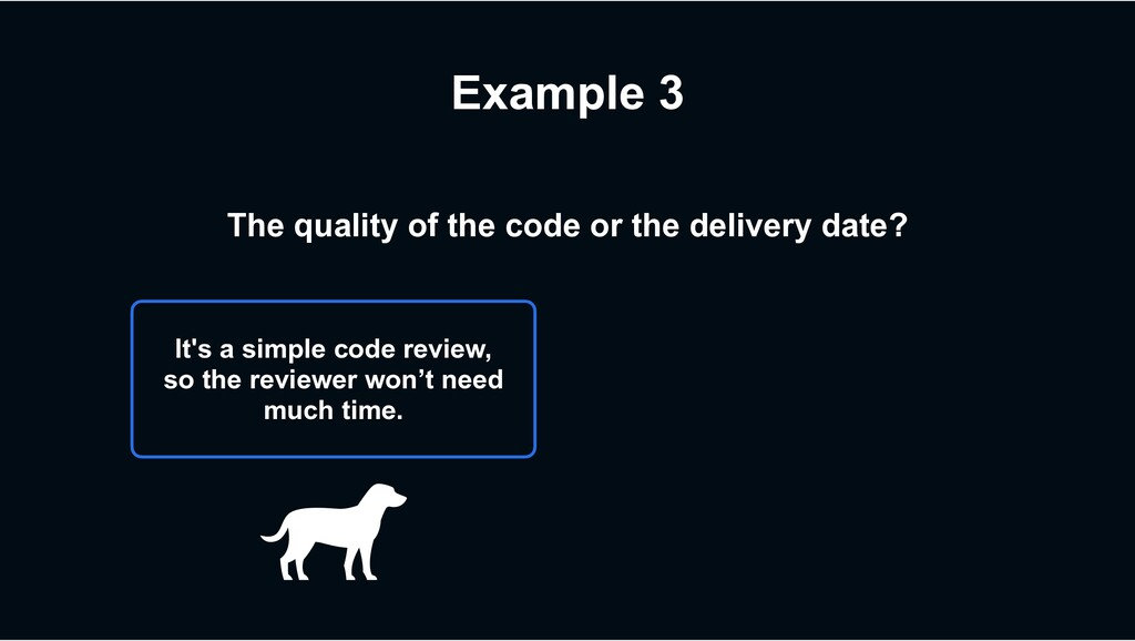 Example 3 The quality of the code or the delive...