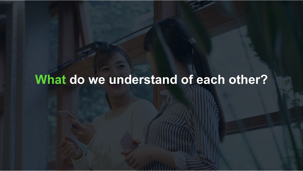 What do we understand of each other?